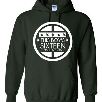 This BOY IS 16  SIXTEENTH Bday Made In 1998 Printed Graphic Hooded Sweatshirt Makes Great 16TH Birthday Gift awesome Hoodie Fantastic