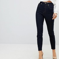 ASOS Super High Rise Firm Skinny Jeans in Raw Indigo Wash at asos.com