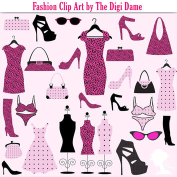 Clip Art: Fashion Clothing & Accessories in Pink, Fuchsia and Black with Polka Dots and Animal Print