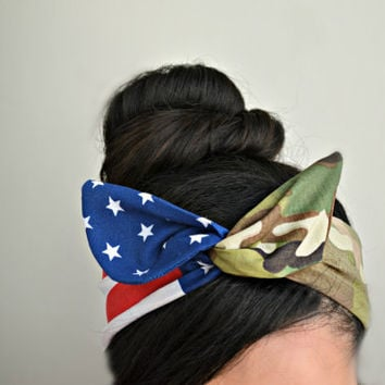 Army American flag headband, Dolly bow headband Army American Flag head band, hair bow, A1