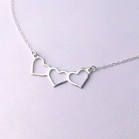 Three Banner Heart Necklace in Silver with Delicate Chain