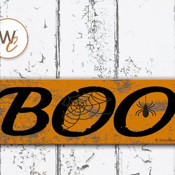 "BOO Sign, Halloween Sign, 5.5""x17"" Wood Sign, Rustic Sign, Holiday Sign, Spooky Home Decor, Distressed Sign, Spider Web, Made To Order"