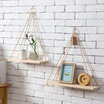 Nordic sling racks flower pots storage rack wall pendant decorative wooden hanging pendant