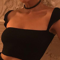 Black Square Neck Rib Tank Crop Top
