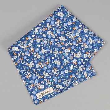 Small Flowers Print Pocket Square, Blue