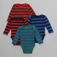 Leveret Blue & Red Stripe Bodysuit Set - Infant | zulily