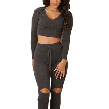 Two Piece Outfits Fitness Crop Top V Neck Sexy Jumpsuit Track Suit Knee Hole New Bodycon Bandage Bodysuit Summer 2016 Fashion