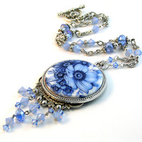 Blue Poppy Necklace, Delf Blue Pendant, Flowers, Spring Jewelry, Cobalt Blu, Mother's Day