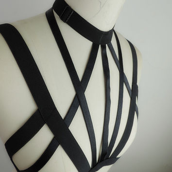 Malevolence Harness Crop Top sexy bondage inspired lingerie goth