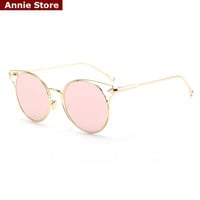 Pink mirror round cat eye sunglasses 2016 women metal hollow out vintage 2016 newest brand designer women sunglasses UV400