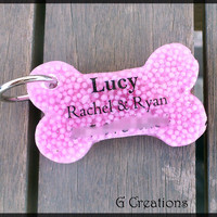 Pink Sprinkles Bone Dog Tag - Cute Resin Dogtag - Colorful Candy