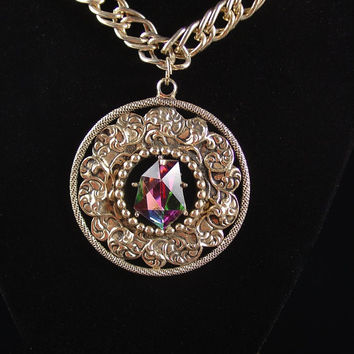 Swank Necklace, Heliotrope Pendant, Vintage Jewelry, Medallion Necklace, 1970s 70s Necklace, Rainbow Pendant,