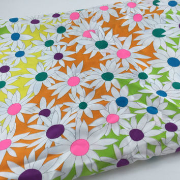 Vintage Flower Fabric Daisy Fabric Bright Flower Fabric 1960s Mod Fabric Green Yellow Orange Pink Floral Fabric Quilting Sewing Craft
