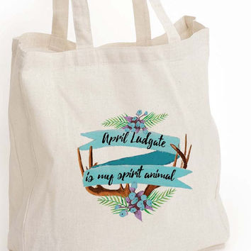 "April Ludgate eco tote bag, ""April Ludgate is my spirit animal"" tote"