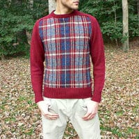 Made in Scotland - Warm Wool Blend Sweater - Scottish Plaid - Burgundy & Navy Blue - Size Medium (M)