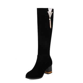 Tall Boots Rhinestone Winter Shoes for Woman 3728
