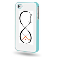 SudysAccessories Field Hockey Forever Field Hockey Infinity Forever iPhone 4 Case iPhone 4S Case - Aqua Blue SoftShell Full Plastic Direct Printed Graphic Case
