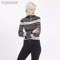 Stripes Knit Tops Sweater Vintage Winter Bottoming Blouse [8069642631]