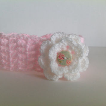 Cute pink and white girls headband