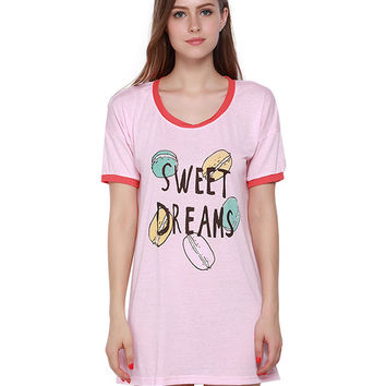 T-shirt Dress with Letter and Macarons Print