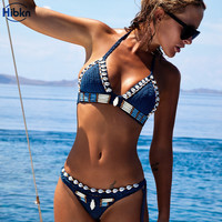 crochet bikini solid sport suit sexy blue swim biquini beach shell swimwear women top high cut triangle swimsuit bikini set 2017