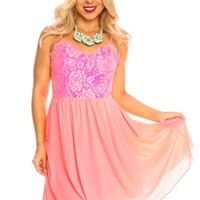 NEON PINK SPAGHETTI STRAP FLORAL LACE SIDE ZIPPER LOOK PARTY DRESS