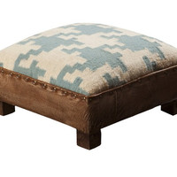 Curtis Houndstooth Teal Foot Stool