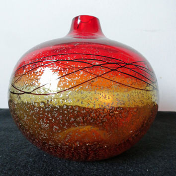 Vintage Amberina Orange Hand Blown Glass Vase // Modern Amberina Abstract Vase
