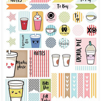 Kawaii Coffe Planner Printable Stickers