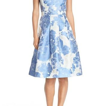 Eliza J Floral Jacquard Fit & Flare Dress | Nordstrom