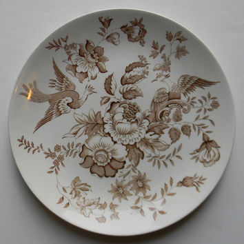 Aesthetic Brown Transferware Plate Roses Pheasants / Birds Ridgway Atherstone Asiatic Pheasants
