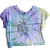 Holographic Waves Yin Yang Crop Top 90s Tumblr Grunge
