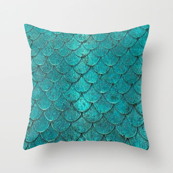 mermaid love Throw Pillow by Pink Berry Patterns