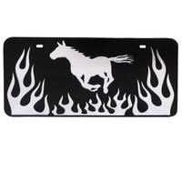 License Plate - Running Horse with Flames - The Tack Room , Inc.