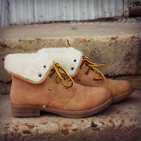 Below Zero Wool Lace Up Camel Ankle Boots-OUT OF BOX