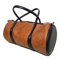 "Duffel Bag Black Brown Small Gym Bag Vegan Leather ""Naugahyde"" 1970's Travel Products Inc"