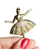 Vintage Ballerina Brooch Pin - Gold Tone Dancer Costume Jewelry / Spanish Grace