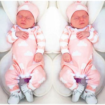 2018 New Fashion Baby Girl Clothes Cartoon Pink Cute Newborn Toddler Jumpsuit+Hat 2 Pcs Baby Girl Clothing Infant Clothing Set