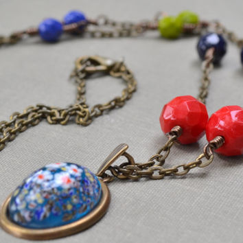 Blue Millefiori Necklace, Boho, Beaded Necklace, Bohemian Beads, Antique Brass, Multi Color Glass Necklace, Speckled Glass, Gift for Her