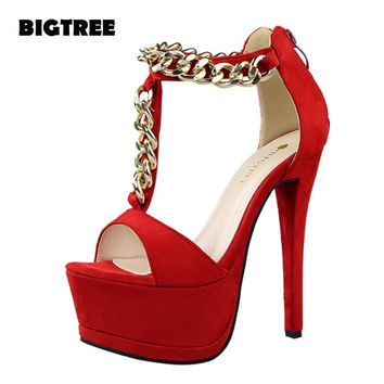 Summer Style High-heeled shoes Platorms Chains Shoes Woman High Heel Fashion ladies shoes Women Sandals Female Shoes With Zip