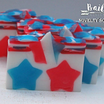 patriotic soap, american flag soap, 4th of july soap, red white and blue, decorative soap, stars and stripes, deployment gift, army gift