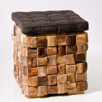 Woven Wood Cube Stool. FREE SHIPPING.