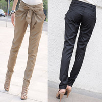Korean Womens Bowknot Harem Pants Hip-Hop Drape Trousers Casual Skinny Trousers