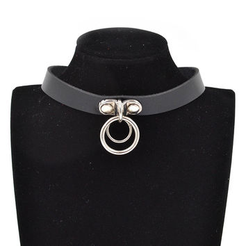 Gothic Punk Style Alloy Double Ring Pendant Snap Fastener PU Leather Collar Chocker