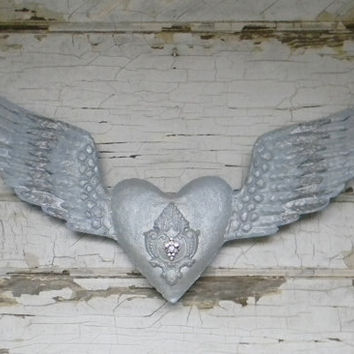 Angel Wing Wall Decor, Angel Wing Decor, Heart and Angel Wings, Metal Angel Wings, Large Angel Wings, Vintage Inspired Angel Wing Decor