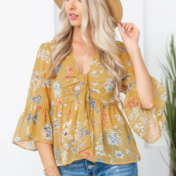 Bow Detail Floral Bell Sleeve Top