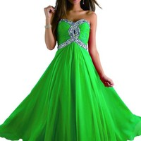 Medon's Sweetheart Bridesmaid Chiffon Prom Dresses Long Evening Gown