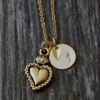 Gold Sacred Heart Charm Necklace, Initial Charm Necklace, Personalized, Religious Charm, Sacred Heart Pendant, Christian Faith Jewelry