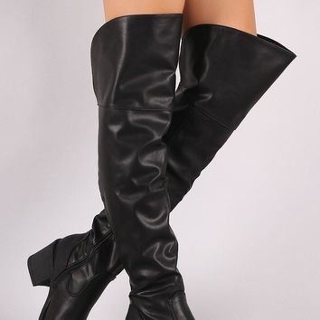 Bamboo Vegan Leather Round Toe Chunky Heeled Over-The-Knee Boots