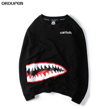 Men Hoodies Hight Quality Japanese Male Head Clothes Shark Mouth Harajuku Men Shark Printing Long Sleeved Clothing WY13